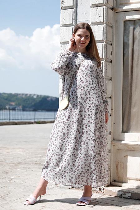 Alia Lila Büyük Beden Kol Uçları Gipe Detaylı Astarlı Elbise