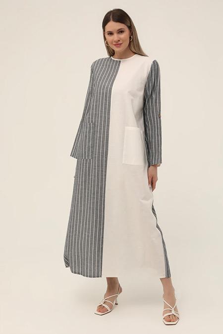 Alia Mavi Beyaz Büyük Beden Doğal Kumaşlı Çizgili Elbise