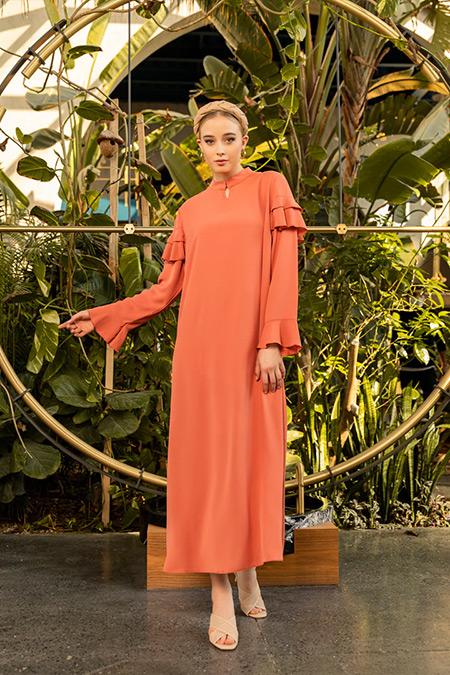 Alia Somon Büyük Beden Kolları Volanlı Dokuma Elbise