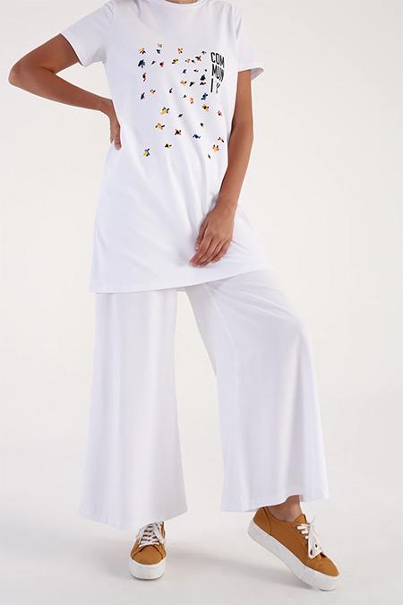 Allday Beyaz Beli Lastikli Salaş Pantolon