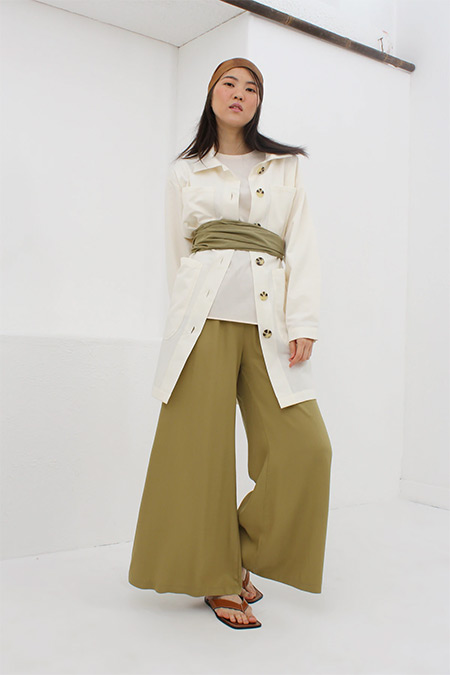 Allday Yeşil Beli Lastikli Salaş Pantolon