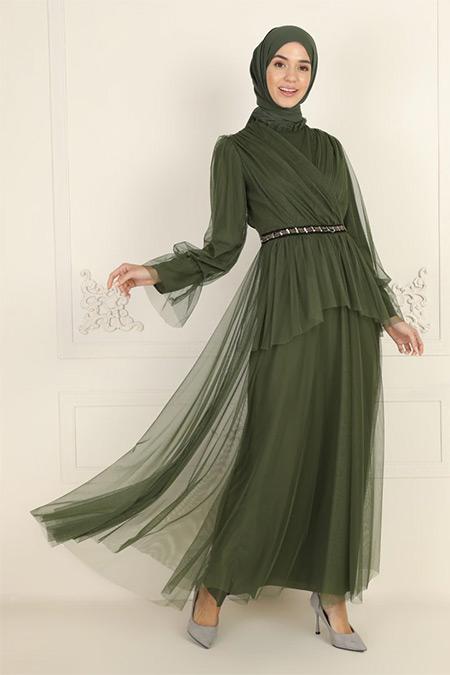 Bürün Haki Tül Detaylı Abiye Elbise