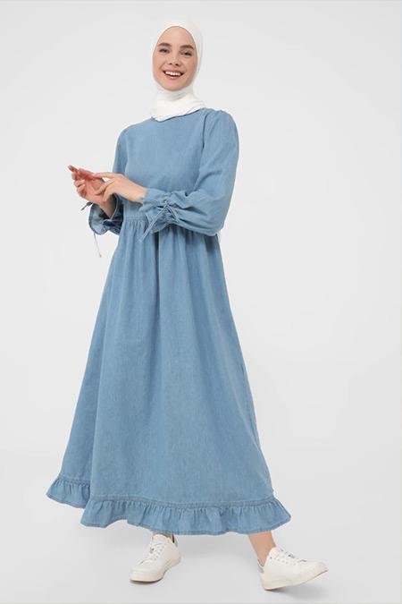 Benin Buz Mavi Kol Detaylı Denim Elbise