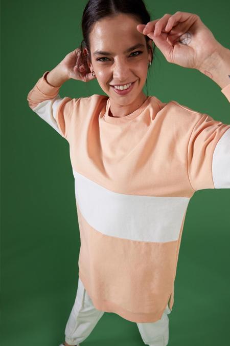 Defacto Relax Fit Renk Bloklu Sweat Tunik