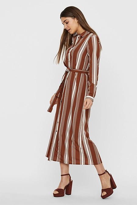 Fabrika x Copenhagen Bordo Çizgili Kemerli Uzun Elbise
