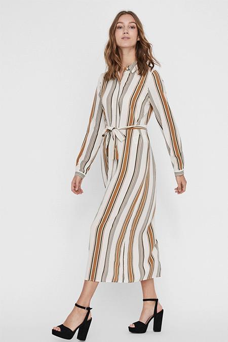Fabrika x Copenhagen Ekru Çizgili Kemerli Uzun Elbise