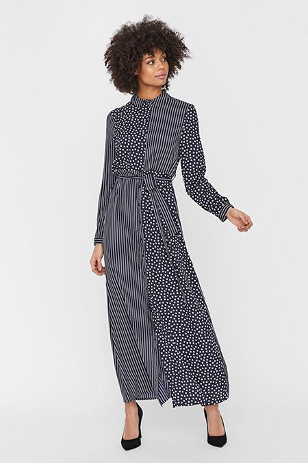 Fabrika x Copenhagen Mavi Puantiyeli Beli Kemerli Elbise