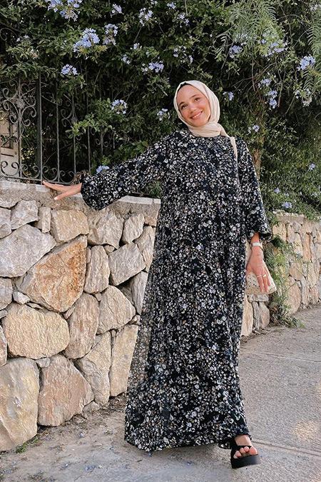 Fuga Design Siyah Lena Kat Kat Elbise