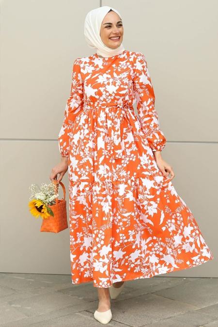 Gizce Uzun Kollu Desenli Elbise