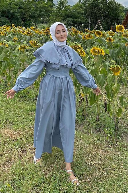 Hooopstore Gri Farah Poplin Elbise