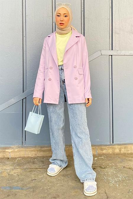 Hooopstore Lila Kruvaze Blazer Ceket