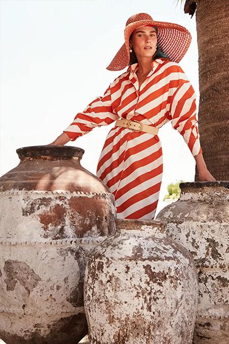 Kuaybe Gider X LC Waikiki Turuncu Çizgili Gömlek Yaka Uzun Kollu Pamuklu Tunik