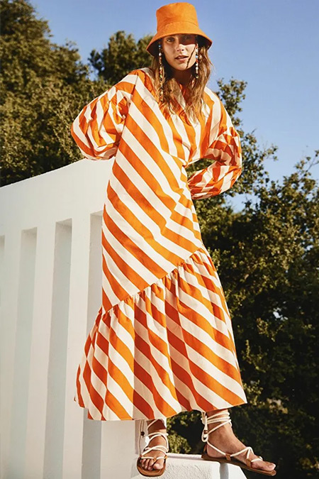 Kuaybe Gider X LC Waikiki Turuncu Çizgili Uzun Kollu Poplin Elbise
