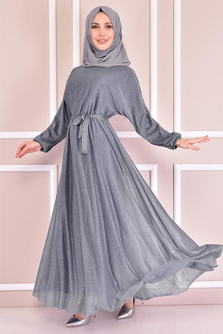 Modamerve Gri Simli Elbise