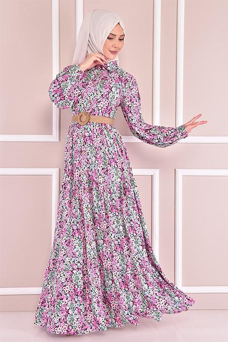 Modamerve Fuşya Çiçek Desenli Elbise