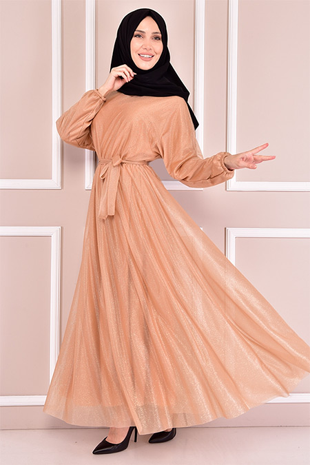 Modamerve Gold Simli Elbise