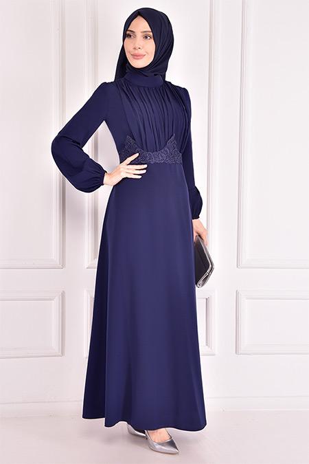 Modamerve Lacivert Güpür Detay Elbise