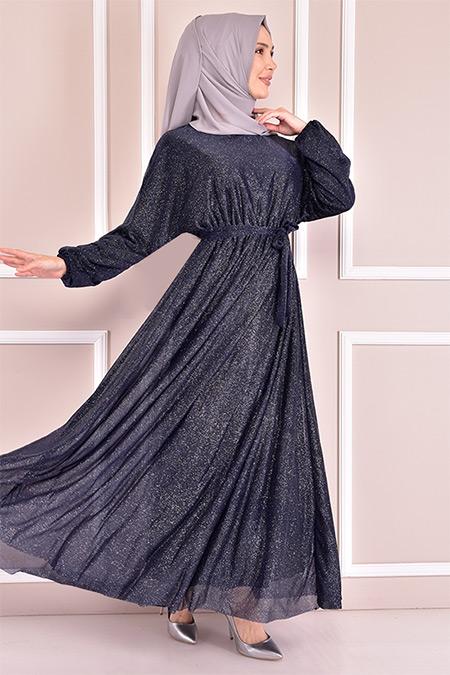 Modamerve Lacivert Simli Elbise
