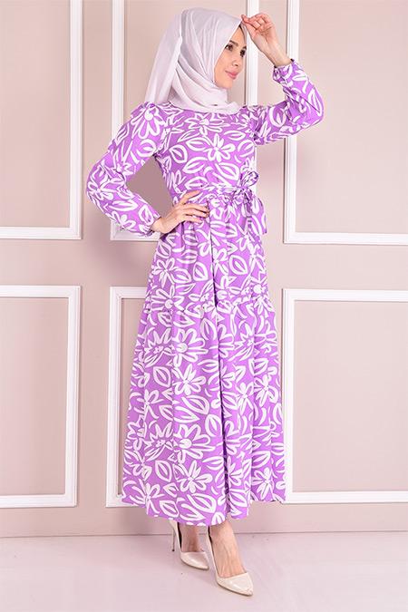 Modamerve Lila Desenli Elbise