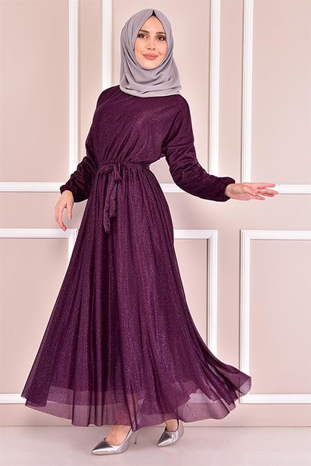 Modamerve Mürdüm Simli Elbise
