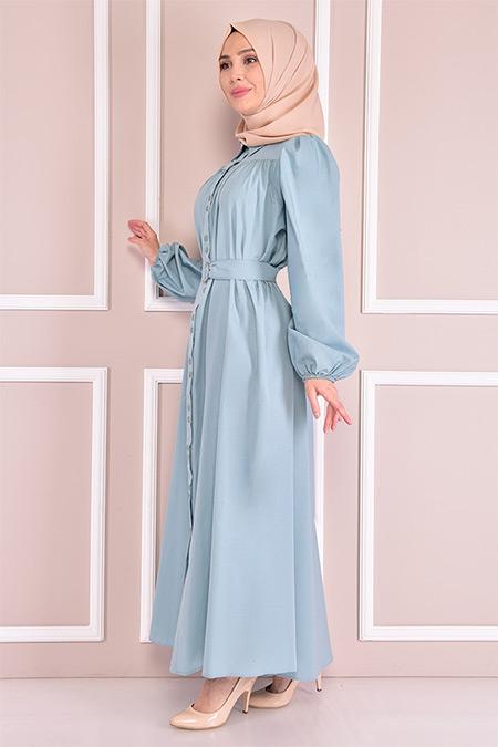 Modamerve Mint Kemerli Elbise