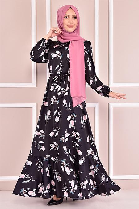 Modamerve Siyah Saten Elbise