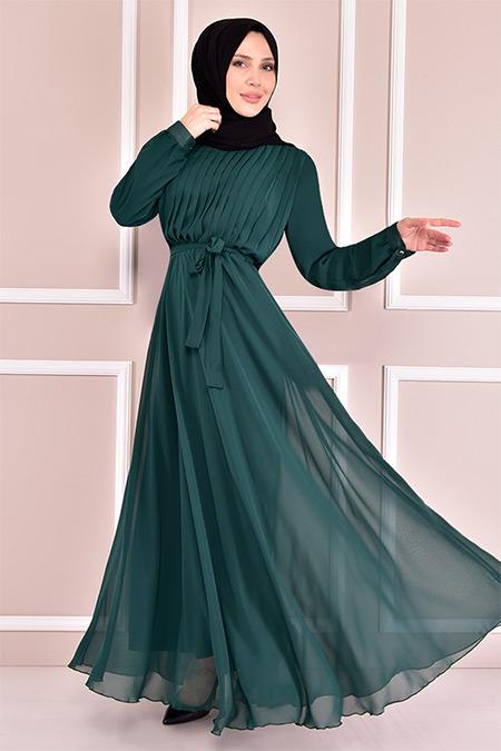Modamerve Zümrüt Piliseli Elbise