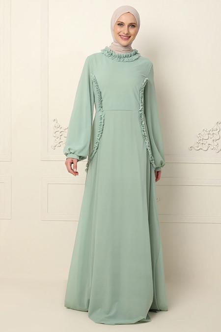 Mwedding Çağla Yeşili Fırfır Detaylı Tüllü Abiye Elbise