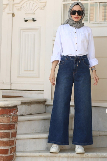 Neways Koyu Mavi Belden Bağcıklı Pantolon