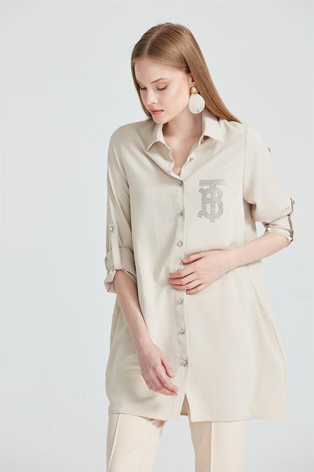 On Fashion Kum Beji Taş Baskılı ve Taş Düğmeli Tunik