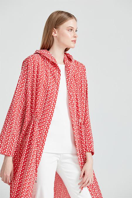 On Fashion Mercan Kapüşonlu Nakış Kumaş Kap