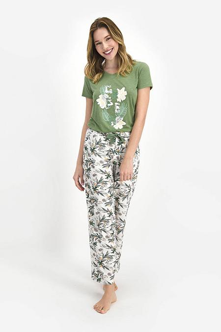 Pierre Cardin Haki Green Garden Kadın Kısa Kol Pijama Takım