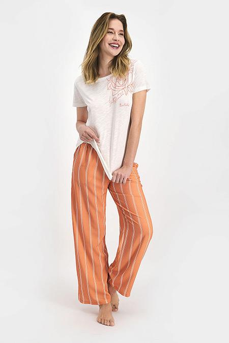 Pierre Cardin Krem Striped Kadın Kısa Kol Pijama Takımı