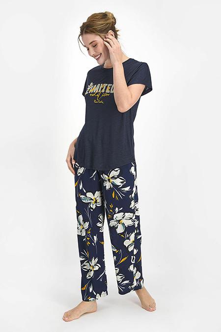 Pierre Cardin Lacivert Lily Kadın Kısa Kol Pijama Takımı