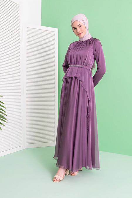 Puane Omuzları Taş Detaylı Abiye Elbise