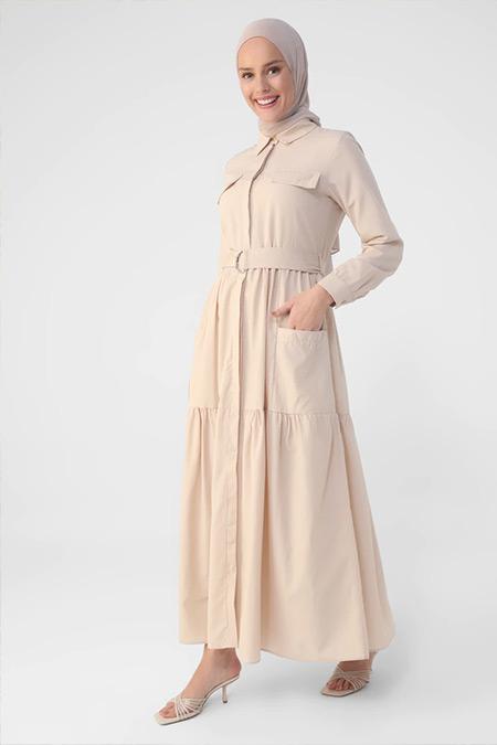 Refka Badem D Tokalı Kendi Kumaşından Kemerli Cep Detaylı Elbise