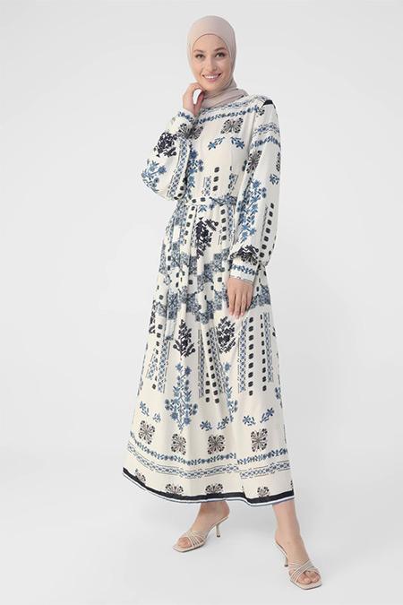 Refka Ekru Mavi Doğal Kumaşlı Etnik Desenli Kuşaklı Elbise