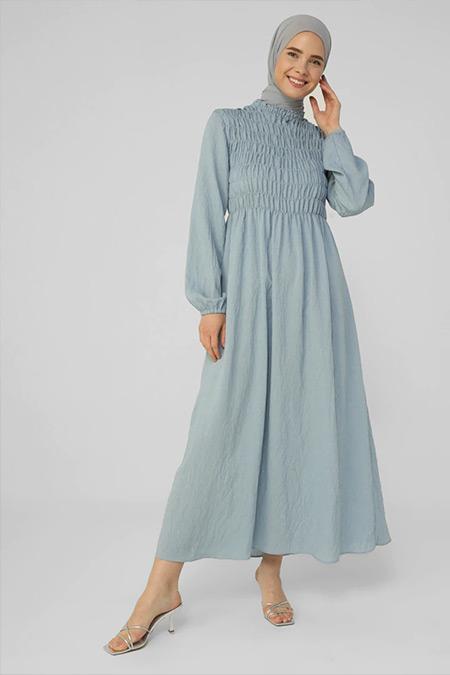 Refka Mavi Gipe Detaylı Elbise