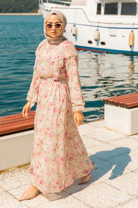 Refka Pembe Volan Detaylı Çiçekli Şifon Elbise