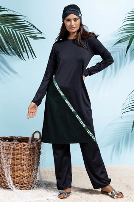 Rohs Fashion Siyah Tam Kapalı Mayo