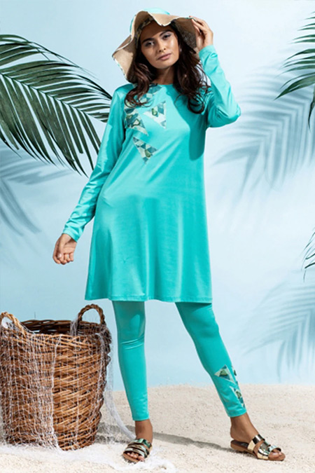 Rohs Fashion Yeşil Tam Kapalı Mayo