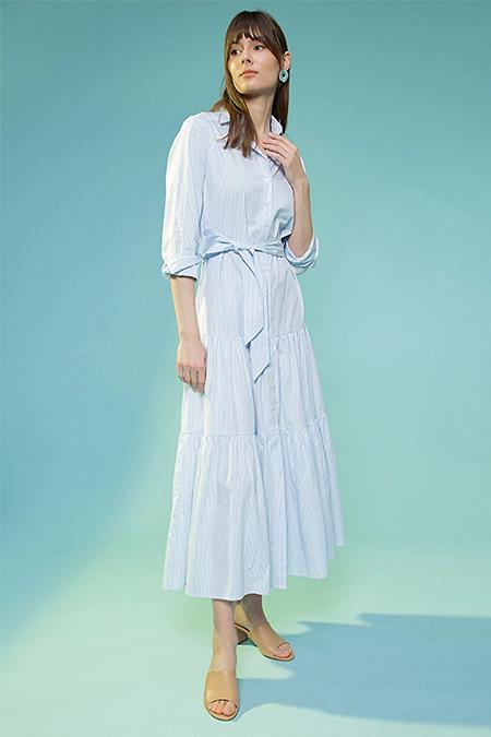 Selma Çilek Mavi Beyaz Gömlek Yaka Çizgili Elbise
