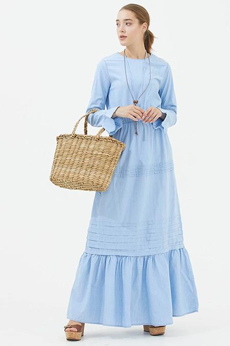 Sementa Mavi Kolye Detaylı Uzun Jean Elbise
