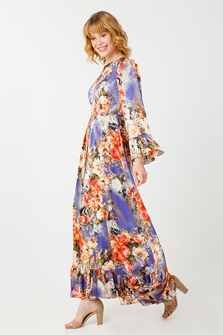 Tığ Triko Desenli Volanlı Elbise