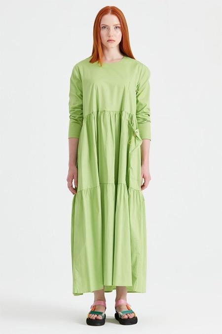 Tığ Triko Fıstık Yeşili Bağcıklı Poplin Elbise