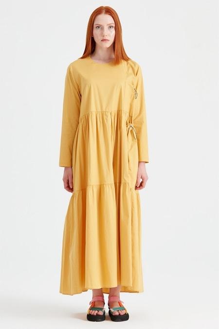 Tığ Triko Hardal Bağcıklı Poplin Elbise