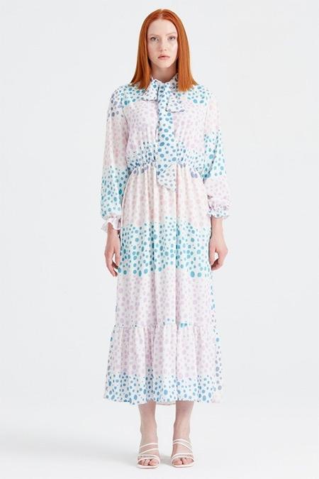 Tığ Triko Lila Puantiyeli Desenli Fularlı Elbise