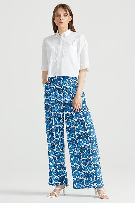 Tığ Triko Mavi Çiçek Desenli Pantolon