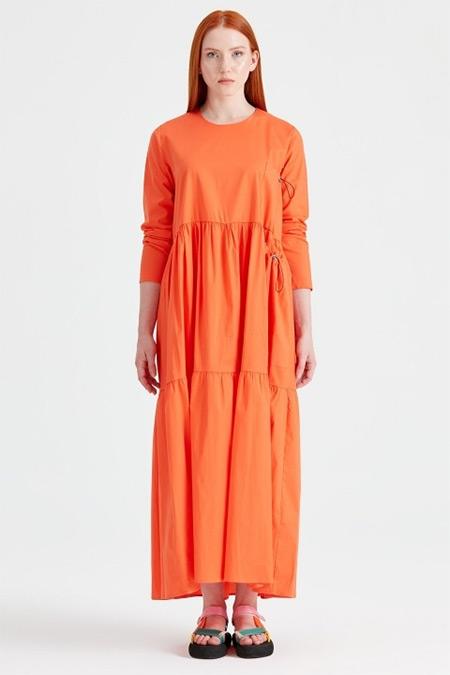 Tığ Triko Oranj Bağcıklı Poplin Elbise