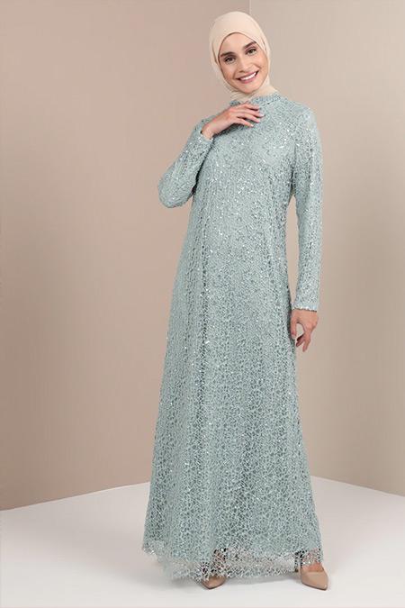 Tavin Çağla Şifon Detaylı Abiye Elbise